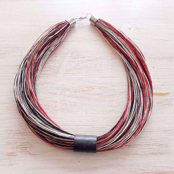 Prekės Raudonas margas lino papuošalas nuotrauka