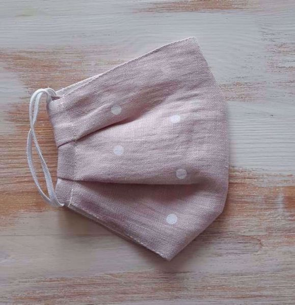 Prekės Lininė veido kaukė rausva su rutuliukais 2-sluoksnė nuotrauka