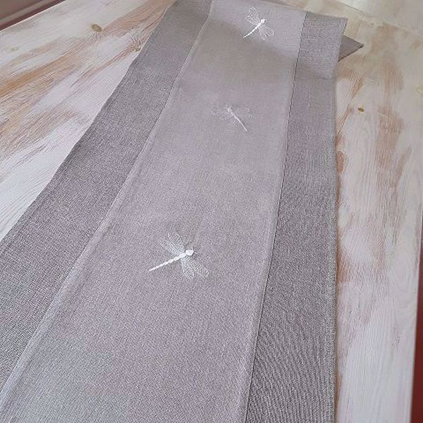 """Picture of Table runner """"Dragonflies"""" natural linen"""