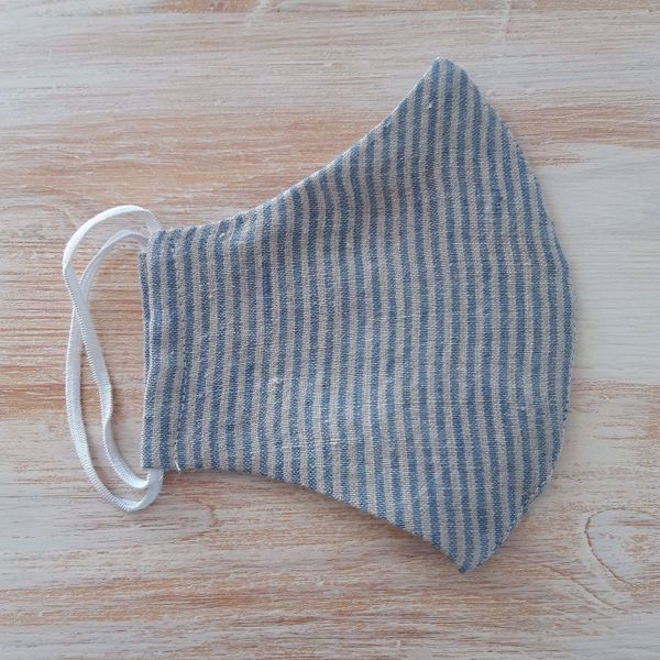 Picture of Linen face mask blue stripped 2-layers