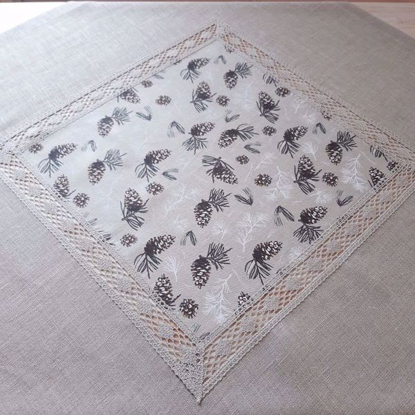 "Picture of Natural linen tablecloth ""Winter"" 100X100"
