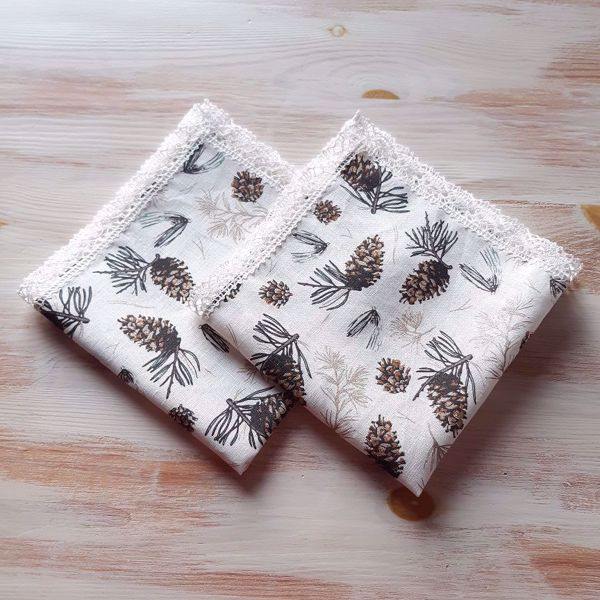"Picture of Linen napkins ""Winter"" 42X42 offwhite"