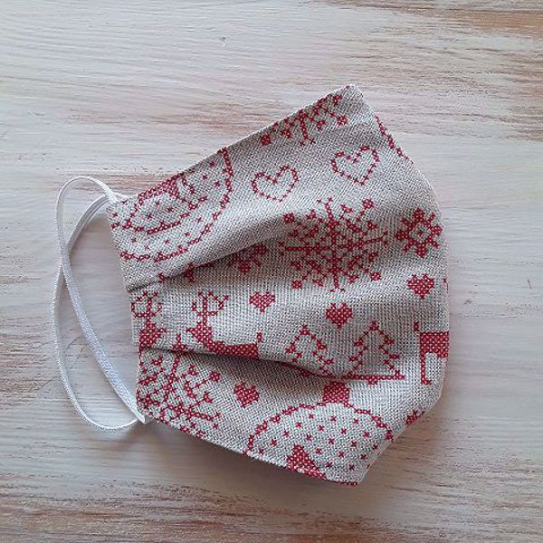 Picture of Linen face mask Christmas Red