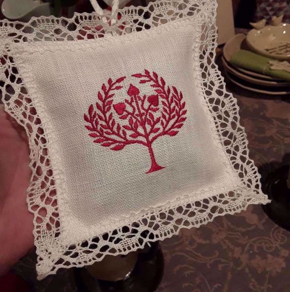 "Picture of Lavender pillow laced ""tree of life"""