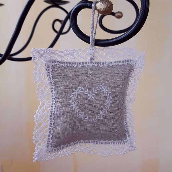 """Picture of Lavender pillow laced """"Heart""""N"""