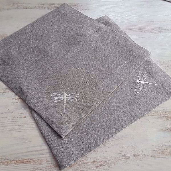 "Picture of Napkins""Dragonflies"" 30X30cm natural linen"